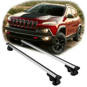 For 2014 2018 Jeep Cherokee Aluminum Roof Rack Cross Bars W Anti theft Lock