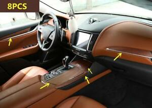 For Maserati Levante 2016 2018 Wood Grain Style Car Interior Kit Cover Trim 9pcs
