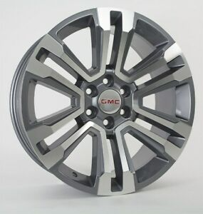22 Fits Gmc Denali Machined Gray Wheels Rims 2018 Yukon Sierra Silverado Tahoe