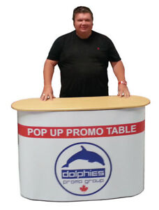 Trade Show Promo Portable Counter Sampling Table Display Kiosk Custom Print