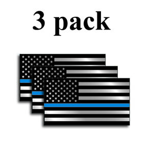 3pk Police Officer American Flag Thin Blue Line Decal Sticker Blue Lives Matter