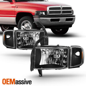 Fit 1994 01 Dodge Ram 1500 2500 3500 Pickup Black Headlights Corner Signal Lamps