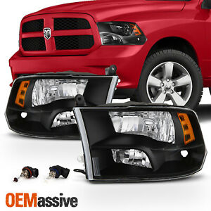 Fits Black 2009 2018 Dodge Ram 1500 2010 2018 2500 3500 Quad Style Headlights