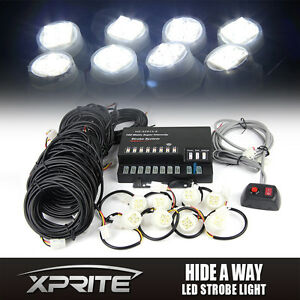 Xprite 8 Led Bulbs Hide a way Emergency Strobe Light Kit White