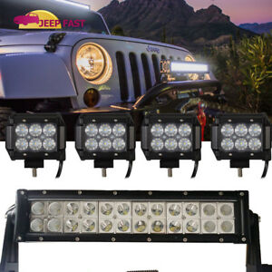 12inch 72w Led Light Bar Cree 4x 4 18w Pods Lamp Spot Flood Ford Suv 4wd Jeep