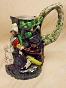 Estate Found Large Antique Hand Painted Pitcher Pottery Lovers 10 Tall