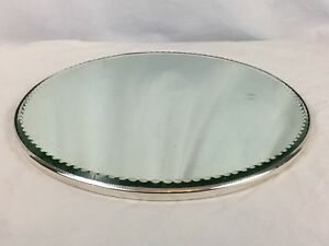 Vintage Silverplate Mirror Glass Plateau With Round Feet