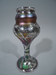 Quezal Vase Antique Art Nouveau American Art Glass Silver Overlay