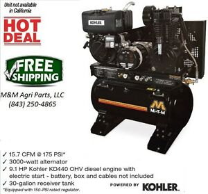 New Diesel Air Compressor Generator Combo Ohv Diesel Engine W Electric Start