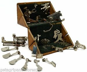 Antique Singer Sewing Machine Parts Lot Of 15 In Pat 1889 Wood Puzzle Box Rare