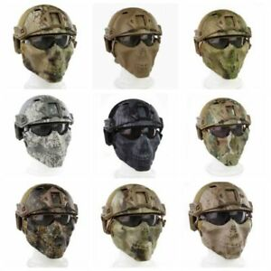 Tactical Fast Helmet & Tactical Mask & Goggle Combination For Airsoft Paintball