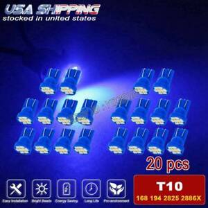 20x Deep Blue T10 Led Side Wedge Interior Map Dome Light Bulb W5w 194 168 192