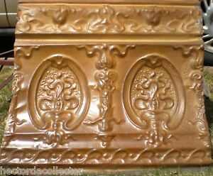 Antique Victorian Ceiling Tin Tile Gold Acanthus Torch Cameo 24 Cottage Chic