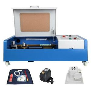 40w Co2 Usb Laser Engraving Cutting Machine 300x200mm Engraver Cutter W Wheel