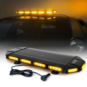 Xprite 27 Inch Rooftop Led Strobe Light Bar Amber Yellow Flash Emergency Warning