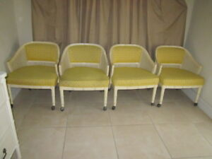 Hollywood Regency Barrel Arm Chairs Cane Upholstered Four Shipping Not Included