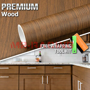 12 x48 Wood Grain Vinyl Wrap Sticker Car Home Kitchen Desk Decoration 1395
