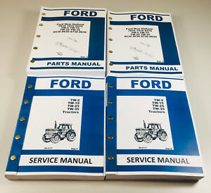 Ford Tw5 Tw15 Tw25 Tw35 Tractor Service Manual Parts Catalog Shop Book Ovhl Set