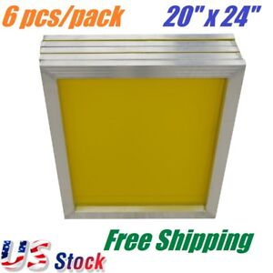 6 Pack Aluminum Frame Screen Printing Screens 20 x 24 230 Mesh Count Yellow