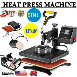 5in1 Digital Heat Press Machine Sublimation T shirt Mug Plate Hat Printer 12x10