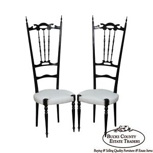 Ebonized Pair Of Mid Century Italian Chiavari Chairs