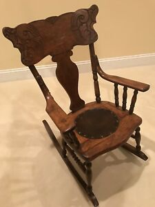 Antique Childs Rocking Chair In Oak Pressed Back 30 H X 25 W 9 Circle