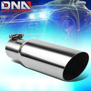 Universal Stainless Steel Muffler Exhaust Tip 2 5 Inlet 3 5 Angle Cut Outlet