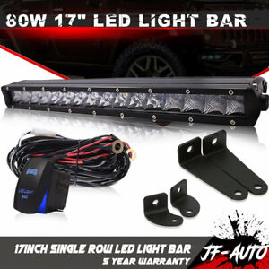 17inch Single Row Led Light Bar Super Slim Cree Combo Beam Driving Jeep 18 19