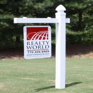 Vinyl Pvc Real Estate Sign Post White single Made In Usa 4ever New