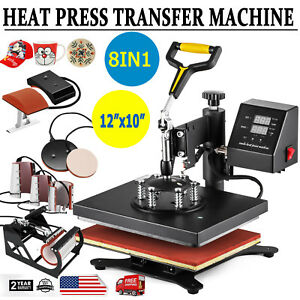 8 In 1 Digital Heat Press Machine Sublimation For T shirt Mug Plate Hat 12 x10