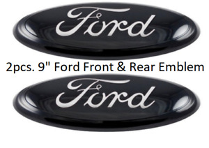 2004 2014 Ford F 150 Black Oval Front Grille Rear Tail Gate 9 Inch Logo Pair