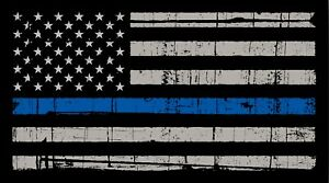Thin Blue Line American Flag Distressed Vinyl Decal Car Window Sticker