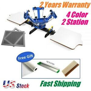 4 Color 2 Station Silk Screen Printing Machine With 6 Pcs Screen Printing Frame
