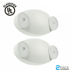 Led Emergency Exit Light Battery Backup Adjustable Two Round Heads Ul listed