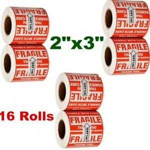 8000 Labels 16 Rolls 2 X 3 Fragile Stickers Handle With Care Thank You 500 roll