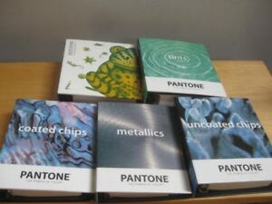 5 Pantone Color Swatch Sample Books Used Clean Metallics Tints Chips Binders