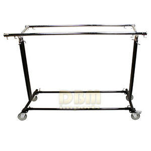Adjustable Retail Garment Display Rack Clothing Clothes Hanger Double Bar Wheels