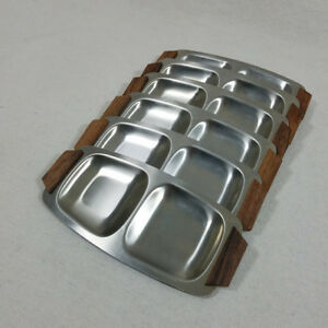 Mid Century Danish Modern Sushi Condiment Serving Dishes Stainless Walnut 6pc