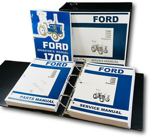 Ford 1700 Tractor Service Parts Operators Manual Shop Book Overhaul Repair Set