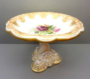 Antique Old Paris Porcelain Centerpiece Compote Painted Gilded Dolphin Floral