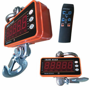 1000kg 1t 2000lbs Digital Crane Scale Heavy Duty Hanging Steel Hook Led Display