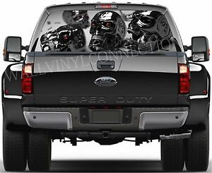 Skull pick up Truck Perforated Rear Windows Graphic Decal Window Graphic Decal