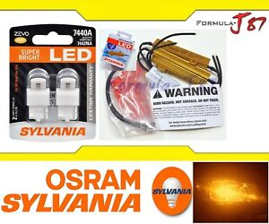 Sylvania Zevo Led Light Bulb 7440 Amber Orange Resistor Combo Hyper Flash Fix Oe