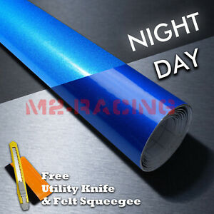 reflective Blue Car Vinyl Wrap Sticker Decal Graphic Sign Adhesive Sheet Film