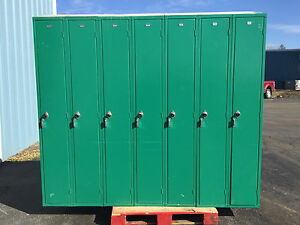 Used Penco Double Sided 14 person Lockers Green