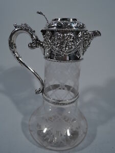Victorian Decanter Antique English Sterling Crystal Sissons 1867