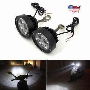 2x Motorcycle Headlight Spot Fog Light 4 Led Front Head Lamp 12v Waterproof Us