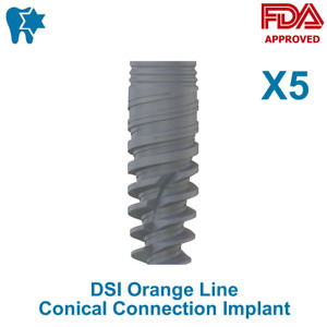 5x Dsi Dental Implant Conical Connection Active Hex Nobel Active Rp np Iso