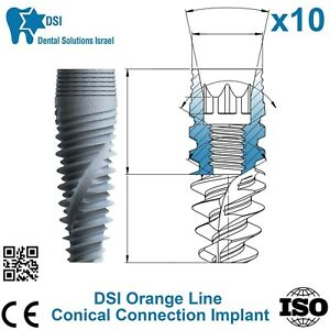 10x Dsi Dental Implant Conical Connection Active Hex Nobel Active Rp np Iso