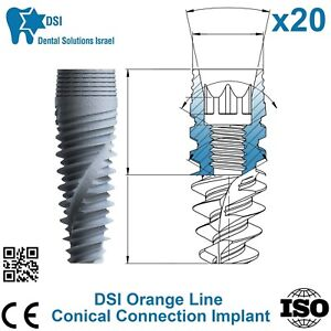 20x Dsi Dental Implant Conical Connection Active Hex Nobel Active Rp np Iso